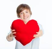 chłopiec serca czerwień Zdjęcie Royalty Free