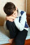 chłopiec sfrustowany osamotniony zakończenie w górę fotografii Fotografia Royalty Free