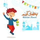 Chłopiec Skokowy Świętuje Ramadan Obrazy Stock