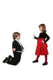 chłopiec smokingowej dziewczyny czerwoni łajania smokingu potomstwa Zdjęcie Stock