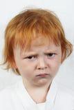 chłopiec smutny z włosami czerwony Zdjęcie Stock