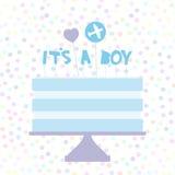 chłopiec swój Słodki błękita tort, błękitna śmietanka, serce samolot, dziecko prysznic sztandaru projekt, karciany szablon, paste Zdjęcia Stock
