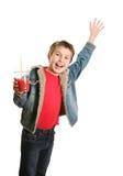 chłopiec szczęśliwy machał Zdjęcia Royalty Free