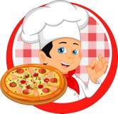 Chłopiec szefa kuchni kreskówka z pizzą ilustracji