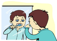 chłopiec target703_0_ jego zęby Obrazy Stock