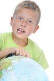 chłopiec target2178_0_ świat dotykają kulę ziemską Zdjęcia Stock
