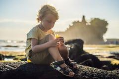 Chłopiec turysta na tle Tanah udział - świątynia w oceanie zdjęcia royalty free