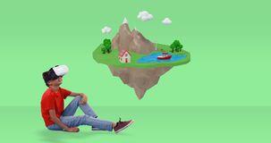 Chłopiec używa rzeczywistości wirtualnej słuchawki z cyfrowo wytwarzać podróży ikonami 4k zbiory wideo