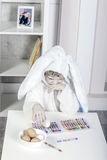 Chłopiec ubierająca jako królik dla Easter Obraz Stock