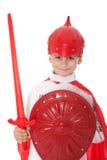 chłopiec ubierający rycerz jak potomstwa Fotografia Stock