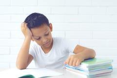 Chłopiec uczeń pisze w notatniku i czytelniczych książkach uczy lekcje obraz stock