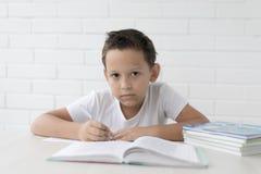 Chłopiec uczeń pisze w notatniku i czytelniczych książkach uczy lekcje zdjęcia stock