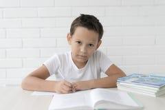 Chłopiec uczeń pisze w notatniku i czytelniczych książkach uczy lekcje obraz royalty free