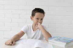 Chłopiec uczeń pisze w notatniku i czytelniczych książkach uczy lekcje zdjęcie royalty free