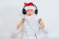 Chłopiec udaje jest Zły Santa Zdjęcia Royalty Free