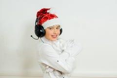 Chłopiec udaje jest Zły Santa Obrazy Stock