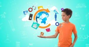 Chłopiec udaje trzymać kulę ziemską otaczająca z różnorodnymi ikonami 4k zbiory wideo