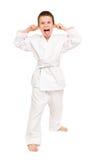 Chłopiec w białym kimonie Fotografia Royalty Free