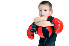 Chłopiec w bokserskich rękawiczkach Obraz Stock