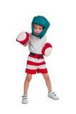 Chłopiec w bokserskim stroju obraz stock