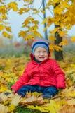 Chłopiec w jesień parku zdjęcie stock