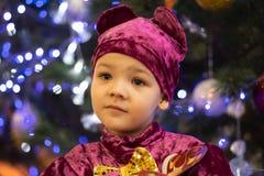 Chłopiec w kostiumu niedźwiedzie na tle nowy rok choinka z światłami girlanda zdjęcia stock