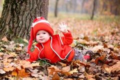 Chłopiec w kostiumu z dyniowym gnomem w jesień parku Zdjęcia Royalty Free