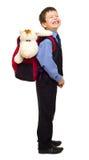 Chłopiec w kostiumu z plecakiem Fotografia Royalty Free