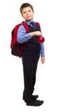 Chłopiec w kostiumu z plecakiem Fotografia Stock