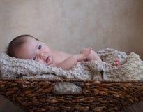 Chłopiec w koszu na drewnianej podłoga Obrazy Royalty Free