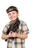 Chłopiec w laserowej etykietki grą Obraz Stock