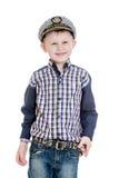 Chłopiec w morzu odziewa obraz stock