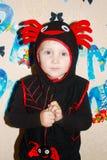Chłopiec w nowym kostiumu pająku Fotografia Royalty Free
