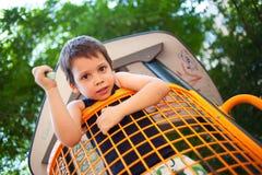 Chłopiec w outdoors boisku Obrazy Royalty Free
