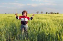 Chłopiec w polu, dziecko obrazy royalty free