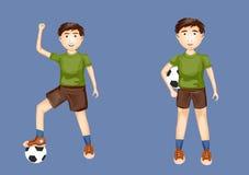 Chłopiec w różnych pozach z futbolowymi piłkami Fotografia Royalty Free