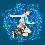 Chłopiec w rolkowych łyżwach i hełma doskakiwaniu, błękit, zielony pluśnięcia tło ilustracja wektor