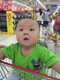 chłopiec w wózek na zakupy Fotografia Stock