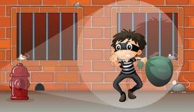 Chłopiec w więzieniu royalty ilustracja