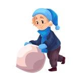 Chłopiec w zimie odziewa robić bałwanu Obrazy Stock