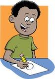 Chłopiec writing Obrazy Royalty Free