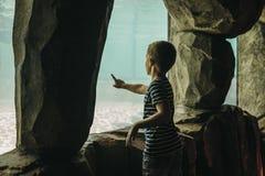 Chłopiec wskazuje palec, patrzeje wśrodku akwarium w Praga zoo, republika czech obrazy stock