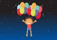 Chłopiec z balonami ilustracja wektor