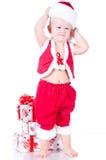 Chłopiec z Bożenarodzeniowymi prezentami Święty Mikołaj Obraz Royalty Free