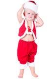 Chłopiec z Bożenarodzeniowymi prezentami Święty Mikołaj Zdjęcia Royalty Free