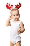 Chłopiec z czerwień rogów myślą zdjęcia royalty free