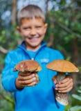 Chłopiec z dziką pieczarką zakłada w lasowej ostrości na pieczarce Obrazy Stock