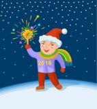 Chłopiec z fajerwerkami w jego ręka ilustracji