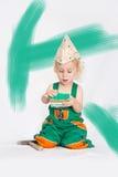Chłopiec z farby muśnięciem Obrazy Stock