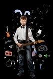 Chłopiec z gitarą Obraz Royalty Free